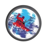 Snowboarder Blasting through the Snow Wall Clock