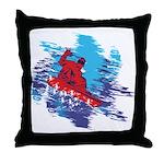 Snowboarder Blasting through the Snow Throw Pillow