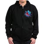 Snowboarder Blasting through the Zip Hoodie (dark)