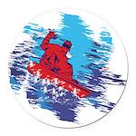 Snowboarder Blasting through the Round Car Magnet