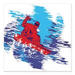 Snowboarder Blasting thr Square Car Magnet 3