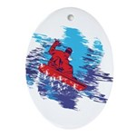 Snowboarder Blasting through the Sno Oval Ornament