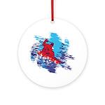 Snowboarder Blasting through the Sn Round Ornament