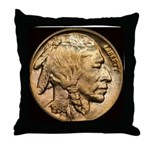 Nickel Indian Head Throw Pillow