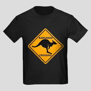 Kangaroo Crossing Sign Kids Dark T-Shirt