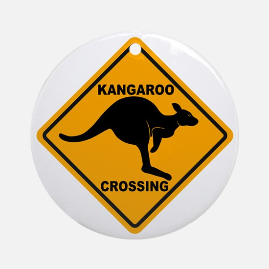 Kangaroo Crossing Sign Ornament (Round)