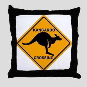 Kangaroo Crossing Sign Throw Pillow