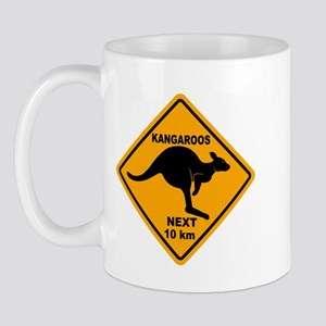 Kangaroos Next 10 km Sign Mug