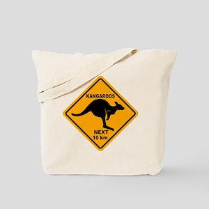Kangaroos Next 10 km Sign Tote Bag