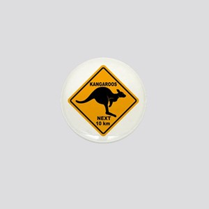 Kangaroos Next 10 km Sign Mini Button