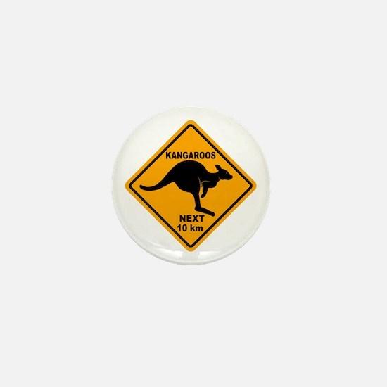 Kangaroos Next 10 km Sign Mini Button