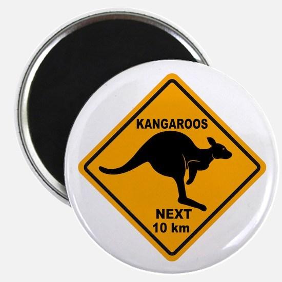 Kangaroos Next 10 km Sign Magnet