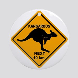 Kangaroos Next 10 km Sign Ornament (Round)
