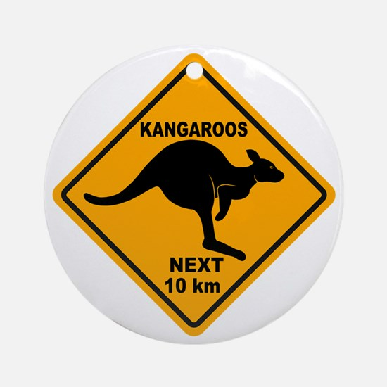 Kangaroos Next 10 km Sign Ornament (Round)