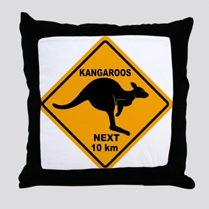 Kangaroos Next 10 km Sign Throw Pillow