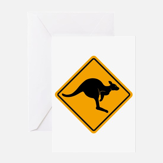 Kangaroo Road Sign Greeting Card