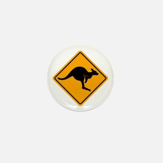 Kangaroo Road Sign Mini Button