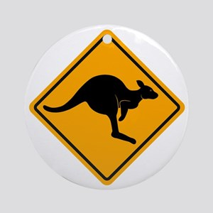 Kangaroo Road Sign Ornament (Round)