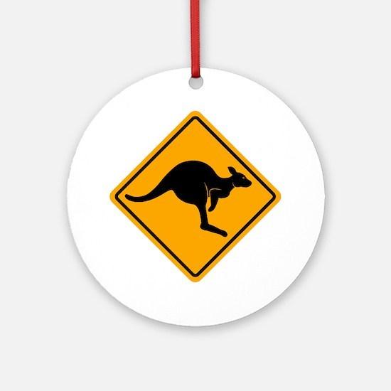 Kangaroo Road Sign Ornament (Round)