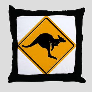 Kangaroo Road Sign Throw Pillow