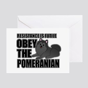 Obey The Pomeranian Greeting Card