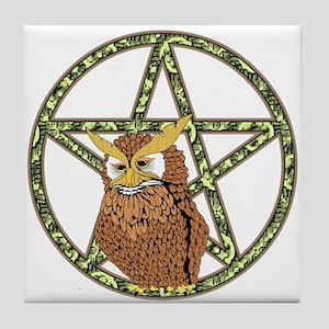 vines Pentagram Owl Tile Coaster
