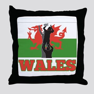 rugby wales Throw Pillow