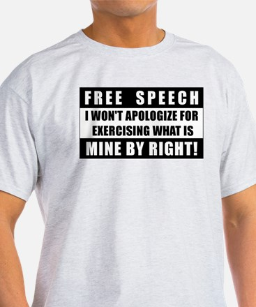 Absolute Free Speech Ash Grey T-Shirt