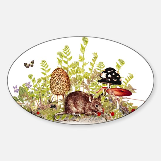 Woodland Mouse Sticker (Oval)