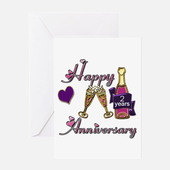 Anniversary pink and purple 2 Greeting Cards