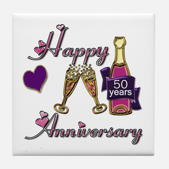 Funny 50th anniversary Tile Coaster