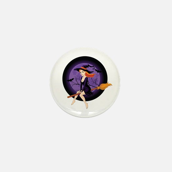 Red Headed Witch Mini Button