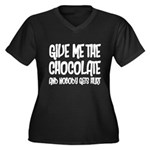 Give Me Chocolate Women's Plus Size V-Neck Dark T-
