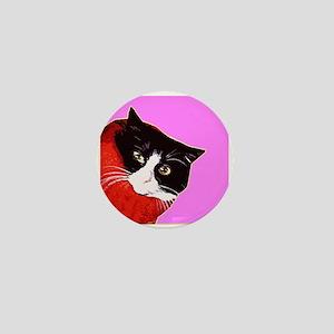Cat So Fluff Reto art funky pink Mini Button Badge
