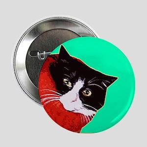 Cat So Fluff Art Green Pin Button