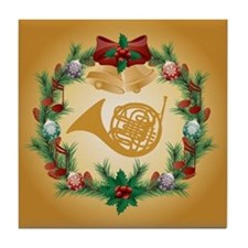 Christmas French Horn Tile Coaster