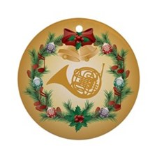 Christmas French Horn Ornament (Round)