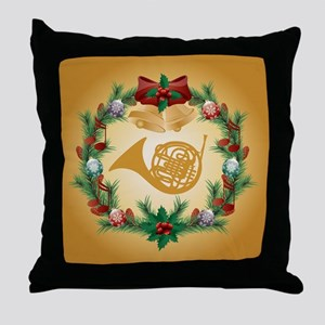 Christmas French Horn Throw Pillow