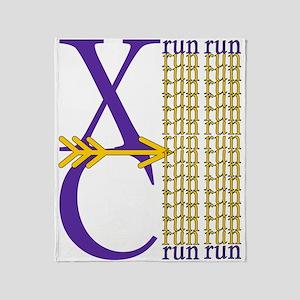 XC Run Purple Gold Throw Blanket