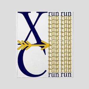 XC Run Navy Gold Throw Blanket