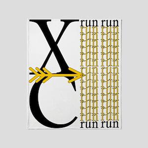 XC Run Black Gold Throw Blanket