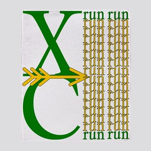 XC Run Green Gold Throw Blanket