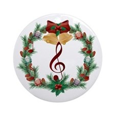 Treble Christmas Music Ornament (Round)