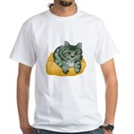 Tabby Cat Drawing White T-Shirt