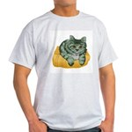 Tabby Cat Drawing Ash Grey T-Shirt