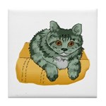 Tabby Cat Drawing Tile Coaster