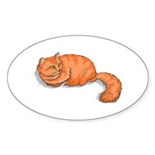 Ginger Cat Oval Sticker