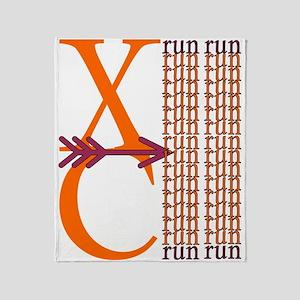 XC Run Orange Maroon Throw Blanket