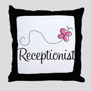 Cute Receptionist Throw Pillow