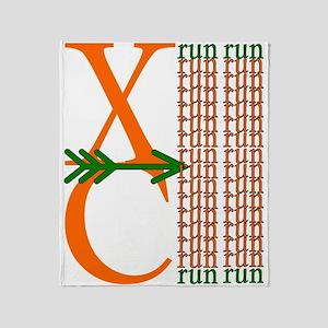 XC Run Orange Green Throw Blanket